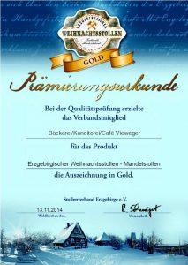 Prämierungs-Urkunde in Gold 2015 für erzgebirgischer Weihnachtsstollen - Mandelstollen vom Stollenverband Erzgebirge e.V.