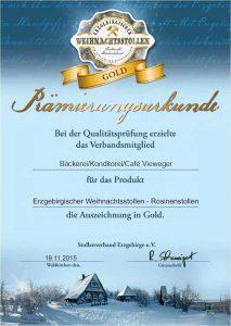 Prämierungs-Urkunde in Gold 2015 für erzgebirgischer Weihnachtsstollen - Rosinenstollen vom Stollenverband Erzgebirge e.V.