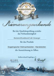 Prämierungs-Urkunde in Silber 2014 für erzgebirgischer Weihnachtsstollen - Mandelstollen vom Stollenverband Erzgebirge e.V.