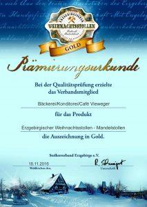 Prämierungs-Urkunde in Gold 2016 für erzgebirgischer Weihnachtsstollen - Mandelstollen vom Stollenverband Erzgebirge e.V.