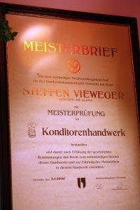 Meisterbrief Konditorenhandwerk - Steffen Vieweger