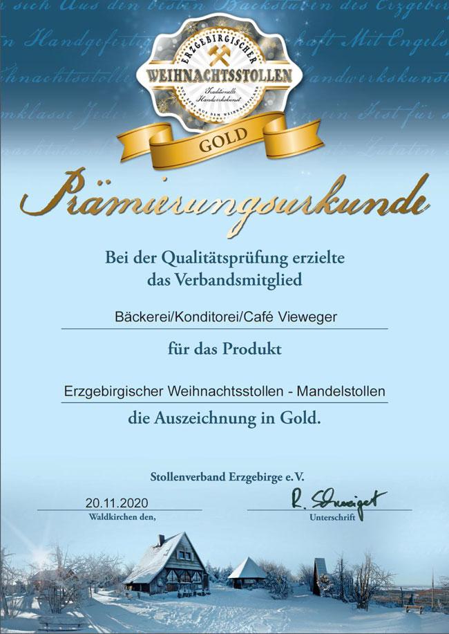 Prämierungsurkunde Gold 2020 - erzgebirgischer Weihnachtsstollen - Mandelstollen